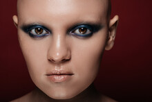 Bald Model With Unusual Makeup
