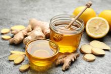 Honey, Ginger And Lemon On Gre...