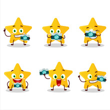 Photographer Profession Emoticon With Yellow Star Cartoon Character