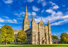 Salisbury Cathedral, Formally Known As The Cathedral Church Of The Blessed Virgin Mary, An Anglican Cathedral In Salisbury, England.