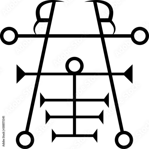 Photo Vector Seal of Ipos Goetic Sigil Daemon Spirit from the Ancient Goetia Gods and