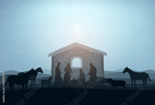 Photo Nativity Scene Silhouette Vector Illustration