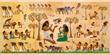 Ancient Egypt Frescoes. Agriculture, Fishery, Farm. Old Tradition, Religion And Culture. Hieroglyphic Carvings On Exterior Walls Of An Old Temple. Life Of Egyptians. History Art