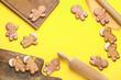 Leinwandbild Motiv Composition with tasty gingerbread cookies on color background