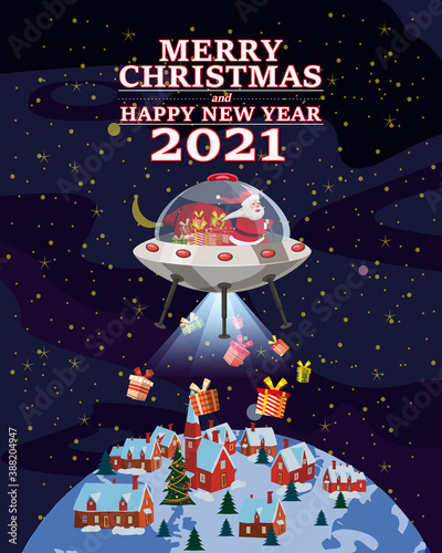 Obraz Santa Claus Van with text Merry Christmas and Happy New Year 2021 flying in UFO spaceship flying saucer delivering shipping gifts. Vector illustration isolated cartoon style greeting card poster - fototapety do salonu