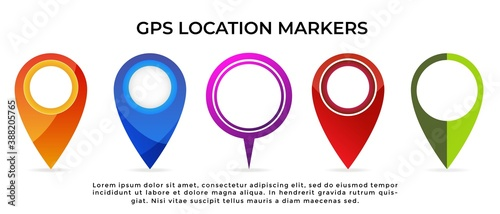 A set of 5 GPS navigation location marker pin icon of different designs and color scheme isolated on white background Wallpaper Mural
