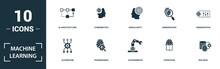 Machine Learning Icon Set. Mon...