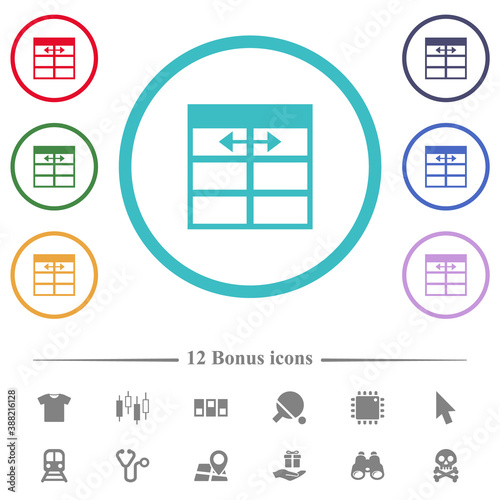 Fototapeta Spreadsheet adjust table column width flat color icons in circle shape outlines