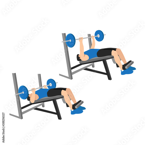 Leinwand Poster Man doing decline barbell bench press flat vector illustration isolated on diffe
