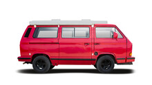 Red Camper Van Side View Isolated On White Background