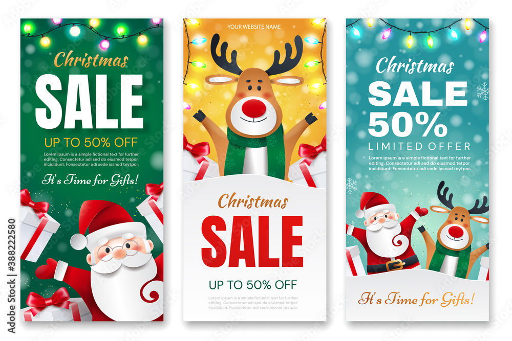 Fototapeta Set of Christmas flyers. Santa Claus and Deer with gifts announces holiday discounts.