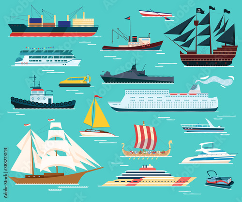 Valokuva Ships and boats isolated set of vector illustrations