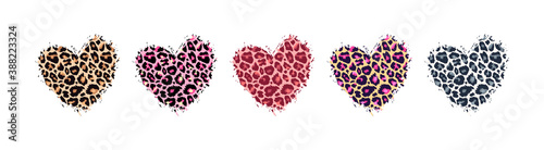 Leopard print textured hand drawn brush stroke heart shape set . Abstract paint spot with wild animal cheetah skin pattern texture. Brown, yellow, pink, grey vector design elements for print designs