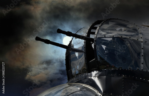 Fototapeta nose gun turret on British Avro Lancaster bomber of world war two with added sky