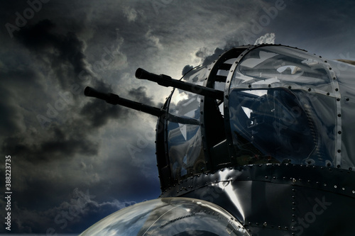 Fotografia, Obraz nose gun turret on British Avro Lancaster bomber of world war two with added sky