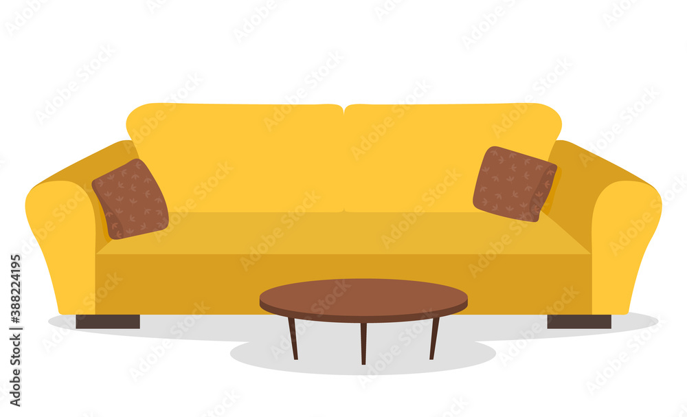Fototapeta Yellow sofa with pillows and small table. Living room furniture design, modern home interior elements vector. Contemporary furniture for living room or home office. Modern sofa place to relax