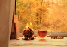 Fall Season. Tea Cup, Candlest...