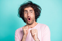 Close Up Photo Of Scruffy Hairstyle Man Shocked Face Hands Fist Up Isolated On Teal Color Background