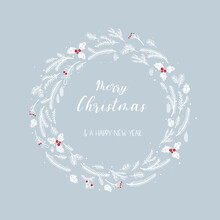 Lovely Hand Drawn Christmas Wreath.