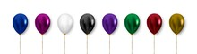 Balloon Set For Decoration. Realistic Vector Clipart.  Multicolored Balloons With Gold Ribbon And Bow Isolated On White Background.