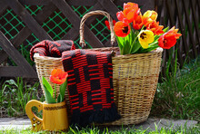 An Old Basket With Red And Yel...