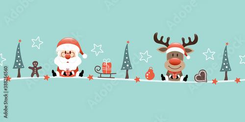 Banner Weihnachtsmann Und Rentier Icons Türkis - 388256560