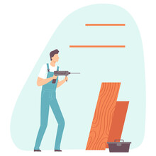 Handyman Putting Up A Shelf. Worker Making House Or Home Apartment Interior Renovation. Cartoon Flat Man Builder Character. Vector Illustration.