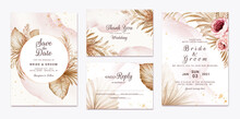 Wedding Invitation Template Set With Brown And Peach Dried Floral And Leaves Decoration. Botanic Card Design Concept
