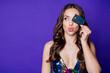 Leinwandbild Motiv Photo of girl close eye face credit card look copyspace send air kiss wear dress isolated shine purple color background