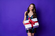 Leinwandbild Motiv Photo of chic fancy lady hold big giftbox festive look outfit wear glossy dress isolated purple color background