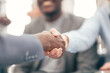 close up. handshake of business people on a blurry background.