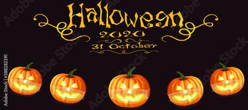Fototapeta 3d, halloween ,pumkin ,octobar 31 ,covid 19 ,covid19,mask , social distance,coro