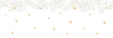 Vector Background With Snowflakes With Golden Gradient And Gray Christmas Tree Branches On White. New Year Illustration. Winter Banner Design.