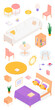 Set of isometric furniture and accessories. Vector collection. Illustration in flat design.
