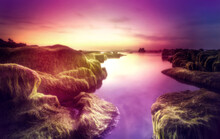 Rocky Shore Landscape With Purple Sky