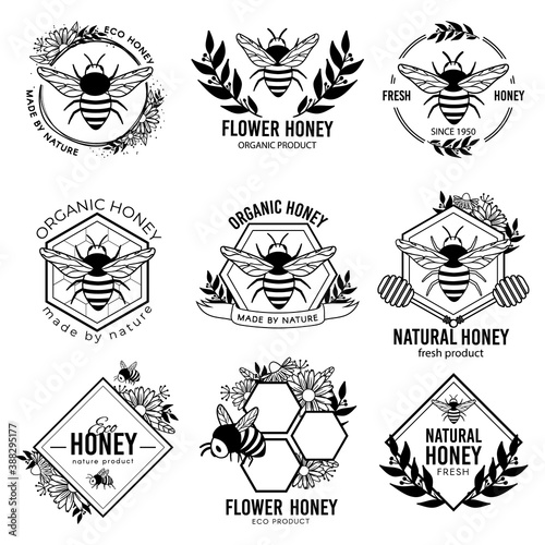 Fototapeta Honey labels. Beekeeping eco product badges, apiculture natural organic propolis stickers. Flower nectar ad tags vector isolated set. Bee emblem, beekeeping badge organic illustration obraz