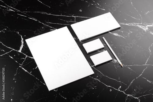 Fototapeta Photo of branding identity mock up on marble. Template isolated on marble background. For graphic designers presentations and portfolios marble premium luxury mock-up obraz
