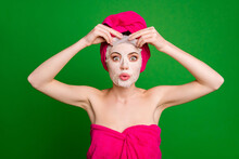 Close-up Portrait Of Attractive Funky Lady Wearing Turban Removing Ugly Snail Essence Facial Mask Pout Lips Isolated On Bright Green Color Background
