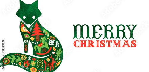 Merry Christmas retro watercolor folk fox banner