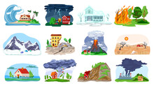 Natural Disaster, Catastrophe Set Of Vector Illustrations With Tornado, Blizzard, Fire, Tsunami. Hurricane, Environmental Crisis In Nature, Earthquake, Volcano Icons Collection. Landslide With Houses.