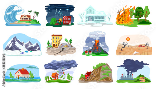 Canvas-taulu Natural disaster, catastrophe set of vector illustrations with tornado, blizzard, fire, tsunami