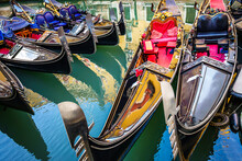 Typical Old Gondola In Venice