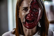Zombie Makeup On Halloween 202...