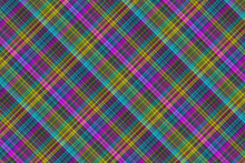 Seamless Illustration Of Tartan Plaid Pattern. Checkered Fabric Texture Print In Pink, Blue And Yellow.