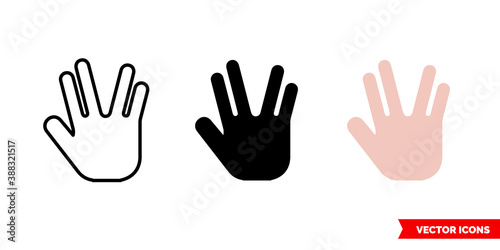 Obraz na plátne Spock hand icon of 3 types color, black and white, outline