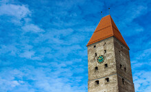 Old Stone Tower With Clock And...