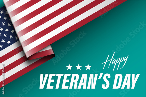 Slika na platnu United States Veterans Day celebrate banner with waving american national flag a