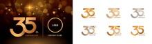 Set Of 35th Anniversary Logotype Design, Thirty Five Years Celebrate Anniversary Logo