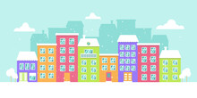 Vector Winter Panorama Of A Colorful City, Snowy Day, Bright Houses