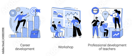 Obraz New skills gain abstract concept vector illustration set. Career development, workshop, professional development of teachers, conference and seminar, career change, job success abstract metaphor. - fototapety do salonu